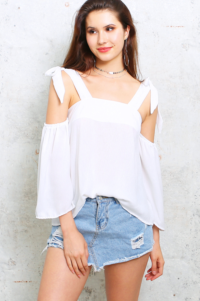 Reine Ribbon Strap Top - White