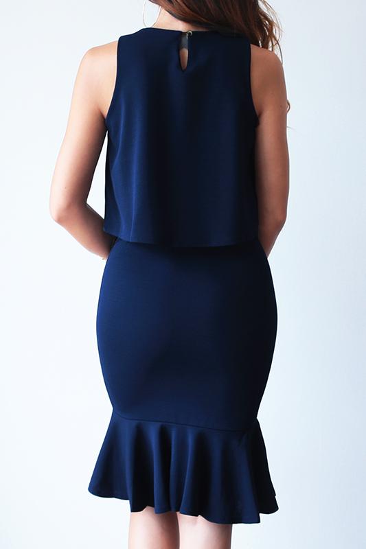 (Backorder) Bev Two-Piece Work Dress - Navy