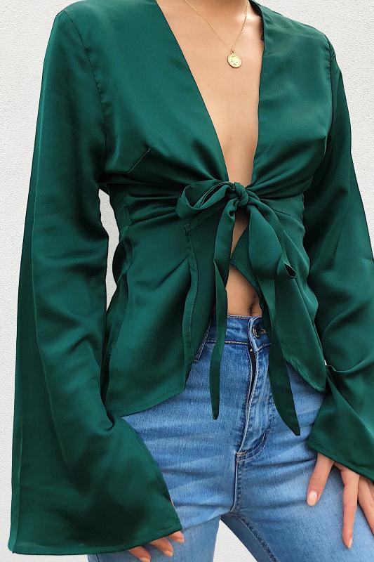 Zoe Plunge Top - Emerald