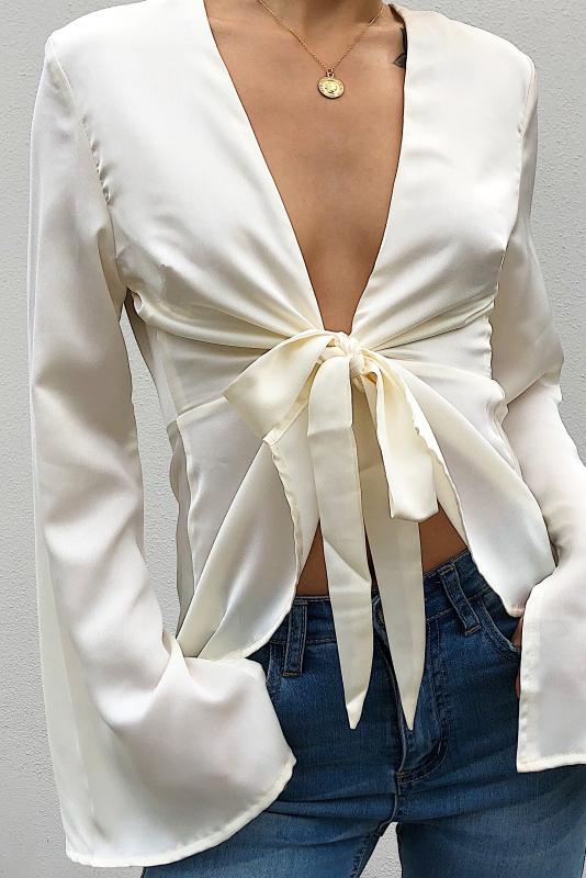 Zoe Plunge Top - Ivory