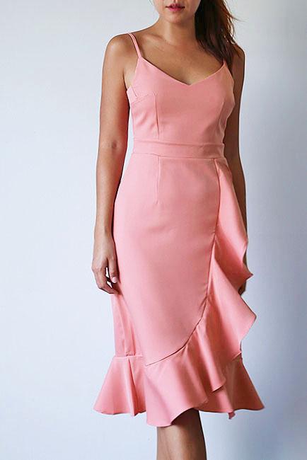Verina Frill Dress - Salmon