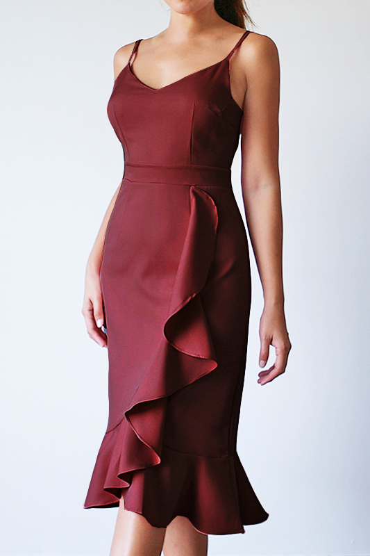 Verina Frill Dress - Burgundy