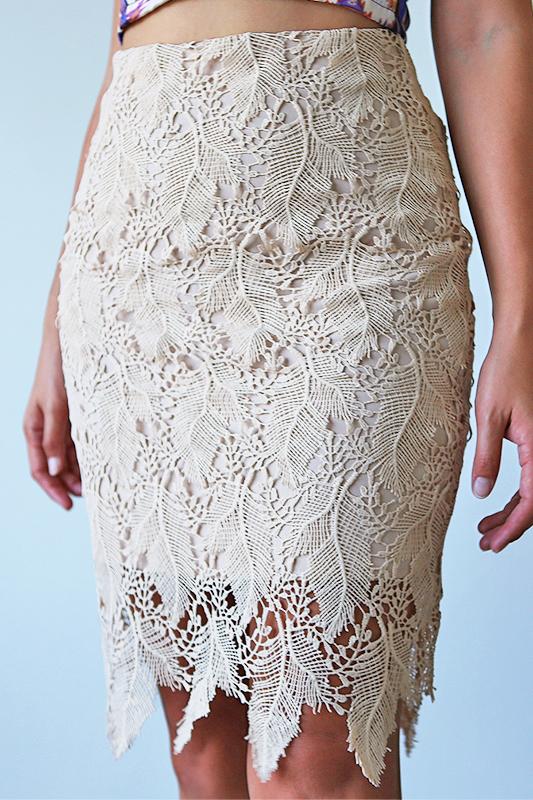 Parisa Crochet Skirt  - Beige