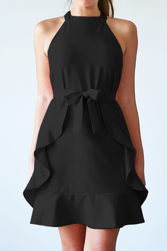 Aissa Frill Dress - Black