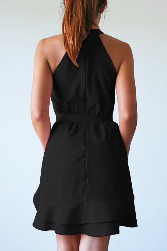 Aissa Frill Dress - Black