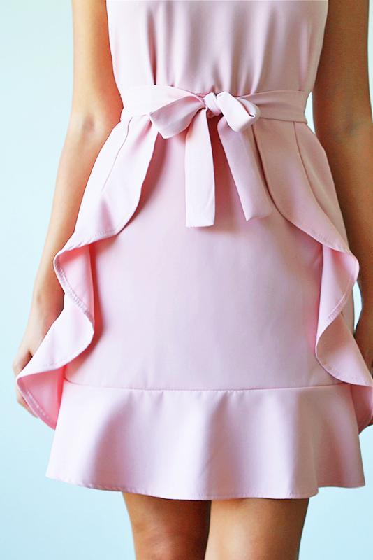 Aissa Frill Dress - Pink