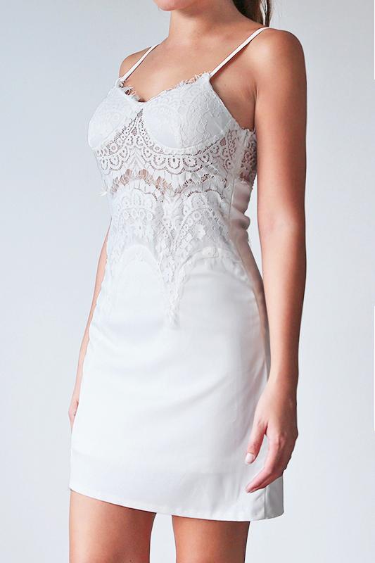 Serra Lace Slip Dress - White