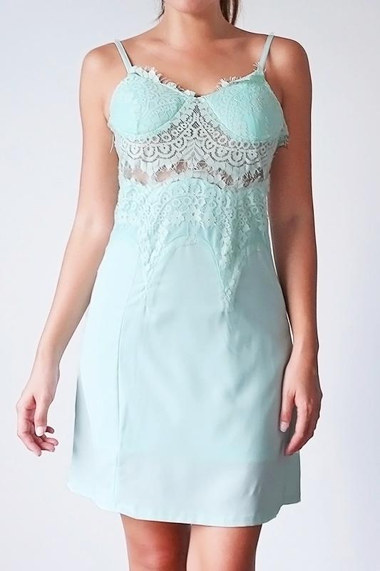 Serra Lace Slip Dress - Mint
