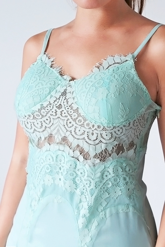 Serra Lace Slip Dress - Mint