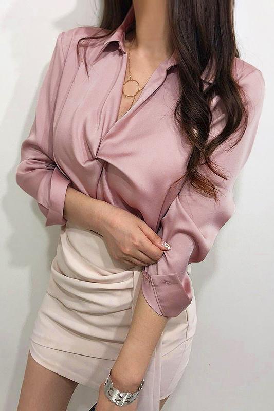 Dez Satin Blouse - Pink